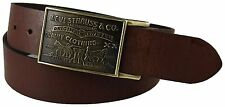 Levi's Men's Genuine Bridle Leather Belt w/ Plaque Buckle - Brown - 11LV0253 NEW