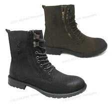 Men's Ankle Boots Military Combat Lace Up Side Zipper Fur Lined Army Shoes Sizes