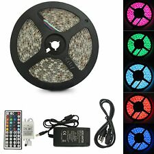 5M SMD RGB 5050 Waterproof Strip light 300 LED 24 44 Key IR Remote 12V 5A power