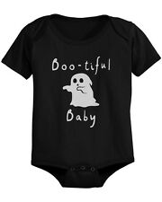 Boo-tiful Baby with Cute little Ghost Bodysuit Halloween Black Snap On Bodysuit