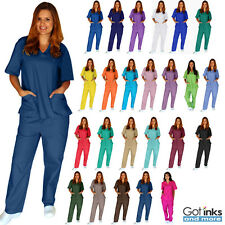 Unisex Men/Women Natural Uniforms Medical Hospital Nursing Scrub Set Top & Pants