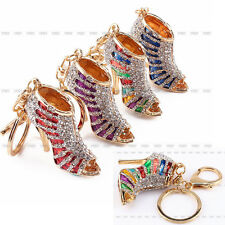 Lovely Crystal Shoe High Heel Pendent Rhinestone Key Purse Bag Keyring Chain New
