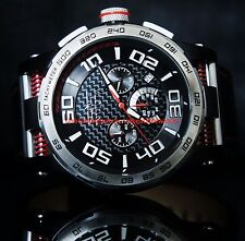 Invicta Mens S1 Rally Chronograph Carbon Fiber Dial Black Leather Strap Watch