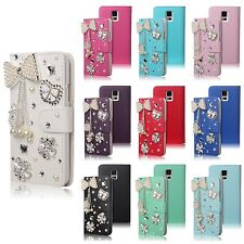For Galaxy S5 i9600 Luxury Bling Diamond Pearl Bowknot Flip Leather Wallet Case