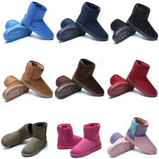 Women Girls Classic Suede Flat Ankle Snow Boots Thicken Short Booties Warm Shoes