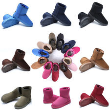Women Girl's Winter Suede Flat Ankle Snow Boots Thicken Short Booties Warm Shoes