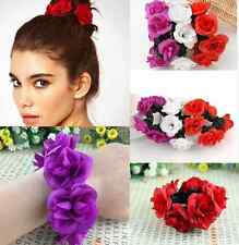 Bun Head Knot Garland Bracelet Hair Top Floral Flower Scrunchie Band Bridal  hs0