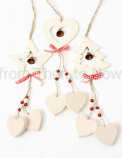 Chic Shabby Cream Wooden Hanging Decoration & Bell Vintage Christmas Xmas Tree