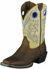 ARIAT CROSSFIRE COWBOY WESTERN BOOTS BOYS GIRLS Brown Leather Shoes 10005993 NEW