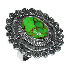 Green Copper Turquoise 925 Sterling Silver Ring Jewelry Size8 JJ1685