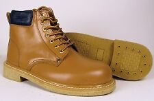 12 Pairs - Mens Leather Steel Safety Toe Work Boot Light Tan (M3076G) Wholesale