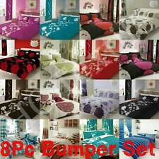 8PC Bumper Set New Duvet Cover & Pillow Cases,Fitted Sheet,Curtain,Double&King