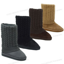 Women's Winter Boots Sweater Knit Crochet Mid Calf Warm Shoes Colors, Sizes:6-11