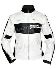 Vin Fast & Furious 7 Dominic Toretto White Genuine Leather Driver Jacket #533