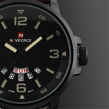 Fashion Naviforce Men's Quartz Date Leather Army Analog Sport Wrist Watch