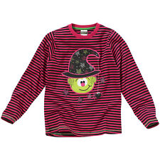 Girls Novelty Halloween Witch Character Print Long Sleeve Striped Top Pink Black