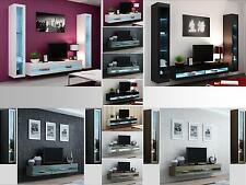 High Gloss Living Room Set with LED Lights, TV Stand, Wall Mounted Cabinet