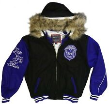 NEW! Zeta Phi Beta Sorority Inc. Fur Trimmed Twill Hooded Jacket Zip Up Coat