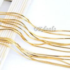 Elegant Women Men 18K Yellow Gold Plated Snake Chain Necklace Jewelry 16-30inch