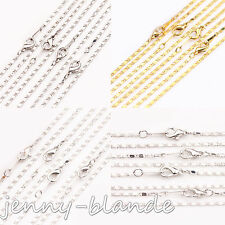 2/10X Gold/Silver Plated Link Chains Lobster Clasp Necklace Finding 2x1x430mm