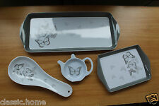 SET OF 4 TEA SERVING TRAYS WITH MATCHING TEA BAG HOLDER & SPOON REST