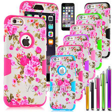Flowers Hybrid Impact Rubber Silicone Phone Case Cover For Apple iPhone 6 / Plus