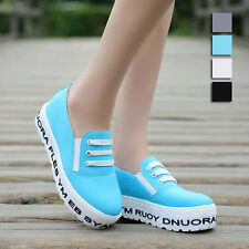 New Lady Canvas High Platform Sneakers Low Top Trainers Lace-up Walking Shoes