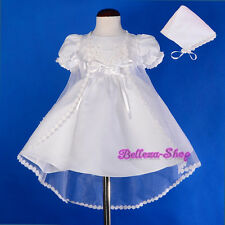 Beaded White Satin Baptism Christening Gown Dress Cape Bonnet Baby 0-12m CN009