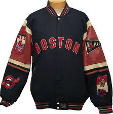 NEW! Boston Red Sox Reversible Button-Up Wool Blend Jacket W/Leather Sleeves