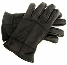 MENS BLACK LEATHER GLOVES THERMAL LINED WINTER DRIVING GLOVES SIZES MED - XLARGE