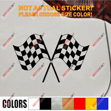 Checkered Flags Crossed Car Decal Bumper Sticker