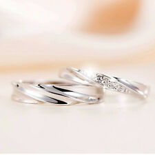 Silver Forever Love Crystal Couple Rings His and Hers Promise Wedding Ring
