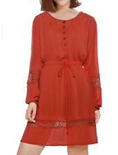 Woman Hollow Out Drawstring Waist Long Sleeves Crinkled Mini Dress