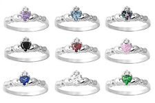 New 925 Sterling Silver Petite Irish Heart Claddagh Birthstone CZ Ring