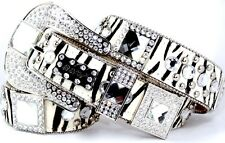 a16. BHW Cowgirl Western Zebra Clear Square Prism Concho Leather Belt