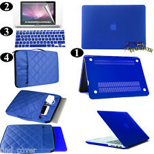 Blue  Rubberized Hard Case Carrying Sleeve Bag Keyboard Cover For Apple Macbook