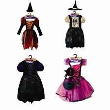 New Kids Halloween Wicked Witch Fancy Dress Costume Girls Party Outfit 4 Colours