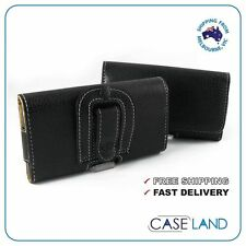 M-BLACK PREMIUM HORIZONTAL LEATHER CASE WITH BELT CLIP FOR SAMSUNG, IPHONE, HTC