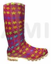 LADIES PINK WITH STARS WELLIES BOOTS SIZES 4 5 6 6 7 P348 READING LEEDS FESTIVAL