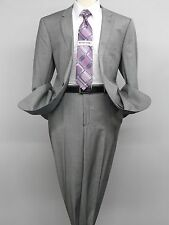 Mens Wool Cashmere Sharkskin Suit Giorgio Cosani Two Button 901 Gray Slim Fit