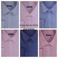 Marks and Spencer Blue Pink Long Sleeve Cotton Rich Easy Care Shirt RRP £19.50