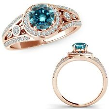 1.25 Carat Blue Diamond Fancy Channel Halo Anniversary Band Ring 14K Rose Gold
