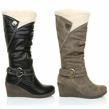 WOMENS LADIES TRIM HORSE RIDING YARD COUNTRY BOOTS FAUX LEATHER WEDGE SOLE