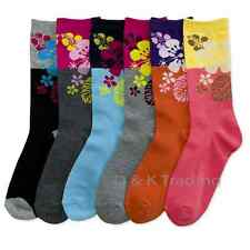 6-12 Women's Socks Tropical Flowers Big Block Colors Crew Length Lot Size 9-11