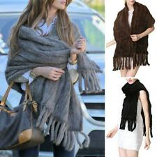 100% Real Warm Knitted Mink Fur Stole Cape Long Shawl Womens Scarves Shawl