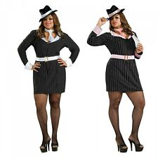 Female Gangster Costume Adult Mafia Girl Mobster Halloween Fancy Dress