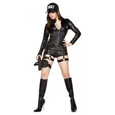 Sexy SWAT Costume Adult Police Woman Cop Halloween Fancy Dress