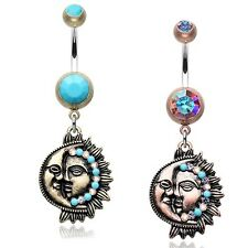 Vintage Boho Sun & Moon Belly Ring Brass Turquoise Copper AB Piercing Jewelry