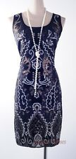 1920's Art deco Black Gatsby Downton Abbey Sequin Nouveau Flapper Dress RR 4001