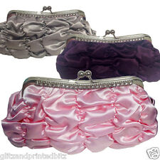 Ladies Satin Ruched Clutch/Evening Bag Crystal Detail & 2 detachable Chains